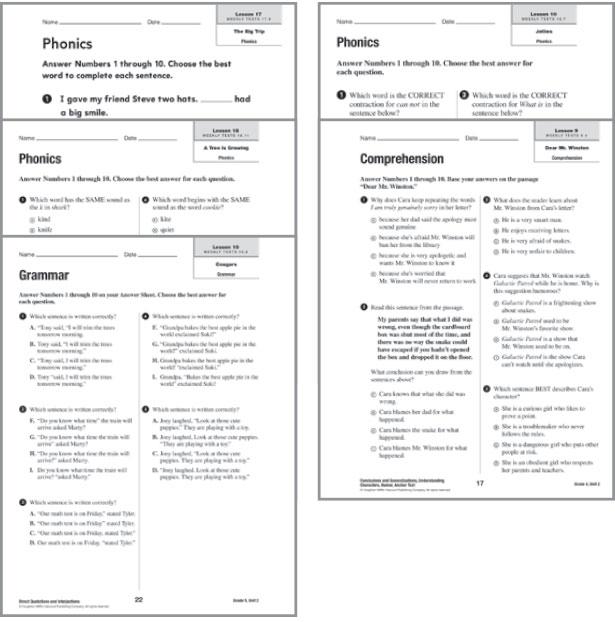 Houghton Mifflin english Unit Test manual Level 6